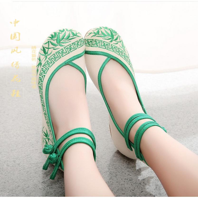 绿色坡跟鞋 竹叶老北京女绣花布鞋中国民族风牛筋底增高坡跟复古旗袍女单鞋绿_推荐淘宝好看的绿色坡跟鞋
