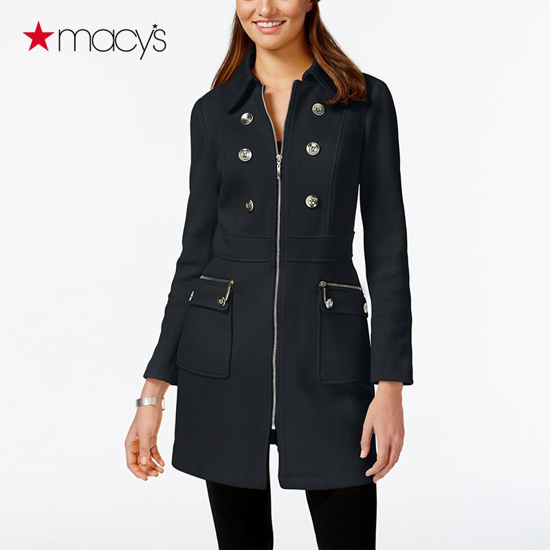 黄色风衣 Macy's女士秋冬季中长款风衣复古纯棉修身长袖外套INC2632507186_推荐淘宝好看的黄色风衣