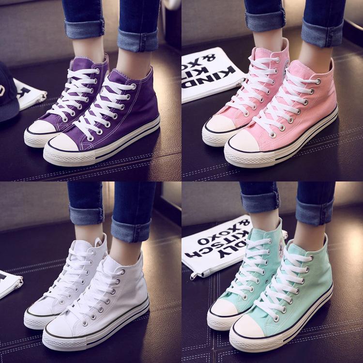 黄色帆布鞋 女糖果色高帮平底帆布鞋女学生韩版纯色粉色绿色紫色黄色帆布鞋_推荐淘宝好看的黄色帆布鞋