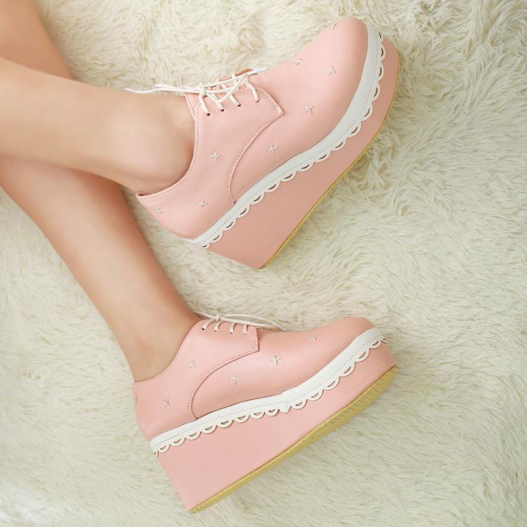 粉红色厚底鞋 洛丽塔cosplay松糕厚底粉红米蓝色紫色公主软妹女仆单鞋皮鞋花边_推荐淘宝好看的粉红色厚底鞋