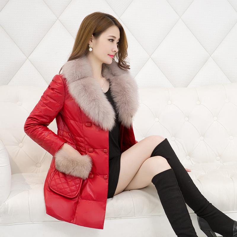 皮衣 海宁冬季新款绵羊皮真皮羽绒服 女中长款狐狸毛领皮衣皮草外套潮_推荐淘宝好看的女皮衣