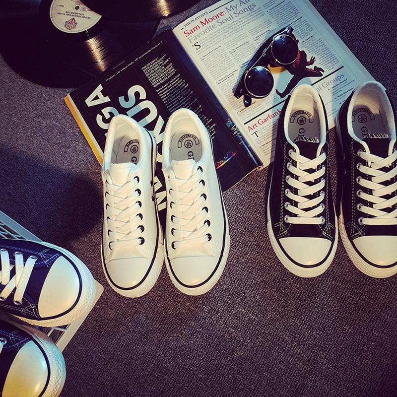 白色帆布鞋 平跟新款白色帆布鞋女小白鞋秋韩版低帮板鞋休闲鞋学生布鞋情侣鞋_推荐淘宝好看的白色帆布鞋