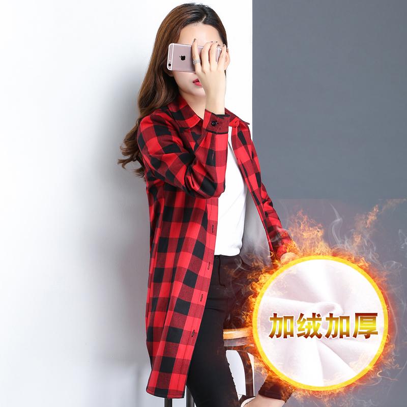 红色格子衬衫 秋季棉加绒保暖长袖衬衫女外套中长款大码红格子宽松衬衣外穿学生_推荐淘宝好看的女红色格子衬衫