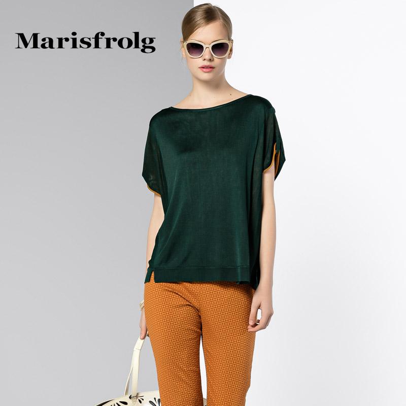 玛丝菲尔正品代购 Marisfrolg玛丝菲尔 简约圆领针织衫T恤上衣 专柜正品夏新女装_推荐淘宝好看的玛丝菲尔