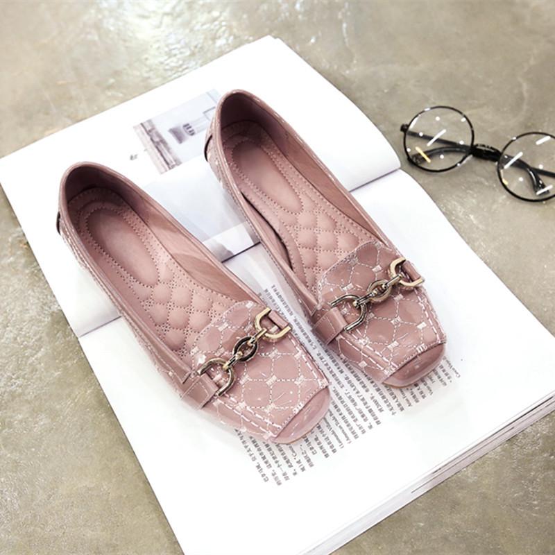 粉红色豆豆鞋 2017春季新款韩版灰黑粉红色浅口方头平跟平底金属扣豆豆鞋女单鞋_推荐淘宝好看的粉红色豆豆鞋