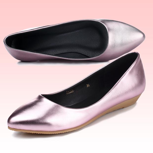 粉红色尖头鞋 5612尖头低跟2cm平底夏季单鞋舒适不累脚闪亮女鞋金色银色粉红色_推荐淘宝好看的粉红色尖头鞋
