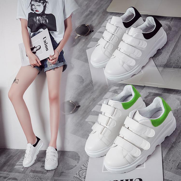 绿色松糕鞋 厚底魔术贴小白鞋女2017新款秋季百搭韩版学生松糕显瘦绿色低帮鞋_推荐淘宝好看的绿色松糕鞋