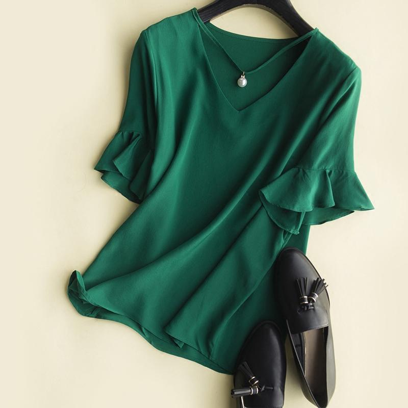 法式衬衫 法式珍珠水钻吊坠 荷叶袖V领真丝衬衫 女_推荐淘宝好看的女法 衬衫