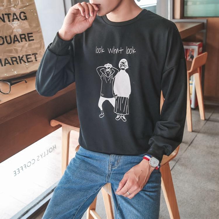粉红色T恤 秋冬季长袖T恤男士青少年韩版体恤男装加绒打底衫学生圆领上衣潮_推荐淘宝好看的粉红色T恤