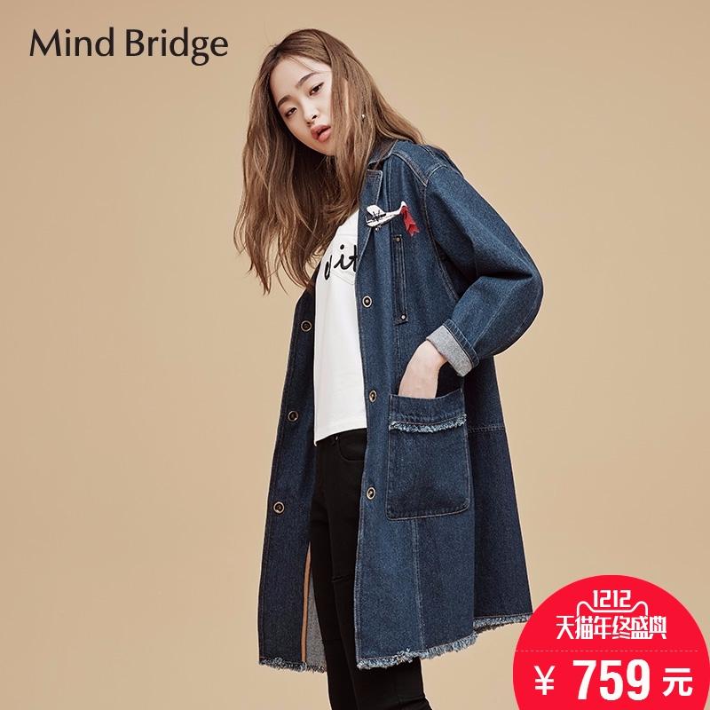 百家好女装 Mind Bridge百家好韩版休闲新款女式牛仔外套MQCA522A_推荐淘宝好看的百家好女