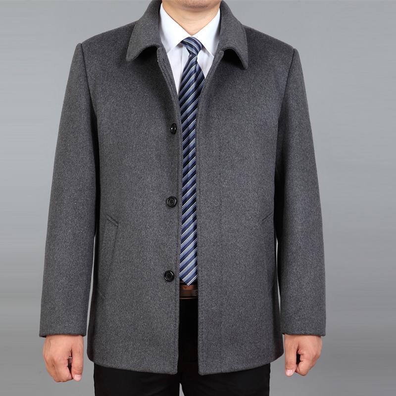 毛呢夹克 秋冬加厚中年爸爸装翻领夹克中老年男士羊毛呢外套加大码男装上衣_推荐淘宝好看的男毛呢夹克