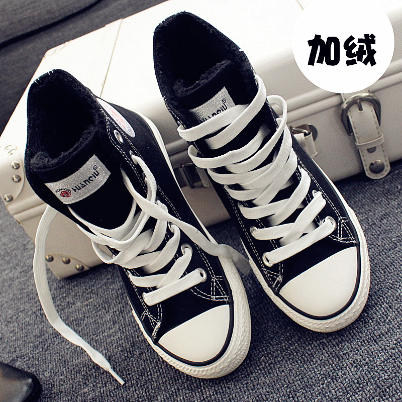 黑色帆布鞋 环球白色高帮帆布鞋女秋冬季加绒加厚平底平跟学生球鞋棉鞋黑布鞋_推荐淘宝好看的黑色帆布鞋