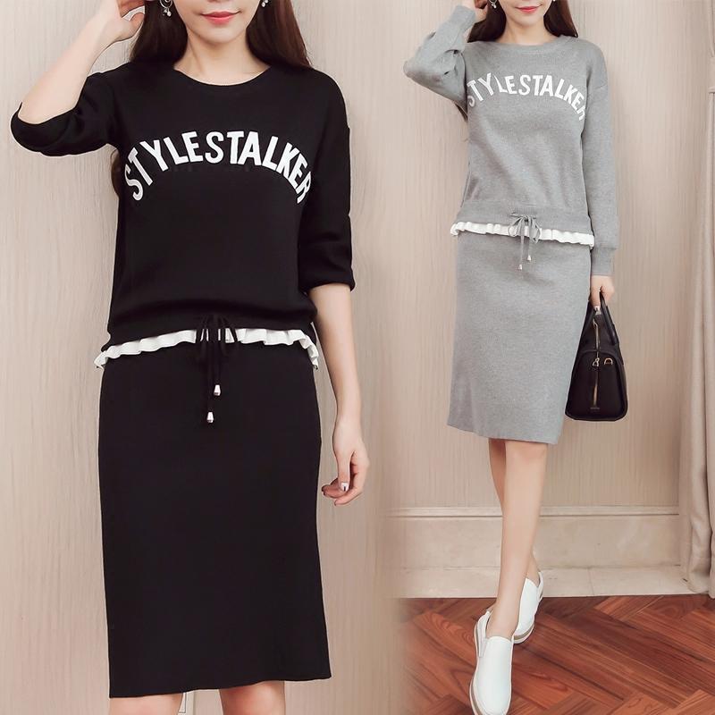两件套针织衫 女装2017秋装新款韩版时尚毛衣针织衫长袖套装两件套包臀裙连衣裙_推荐淘宝好看的女两件套针织衫