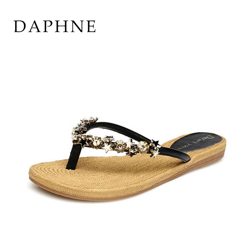 达芙妮罗马鞋 Daphne达芙妮夏季女鞋 夹趾罗马平底凉鞋人字拖鞋1515303050_推荐淘宝好看的达芙妮罗马鞋