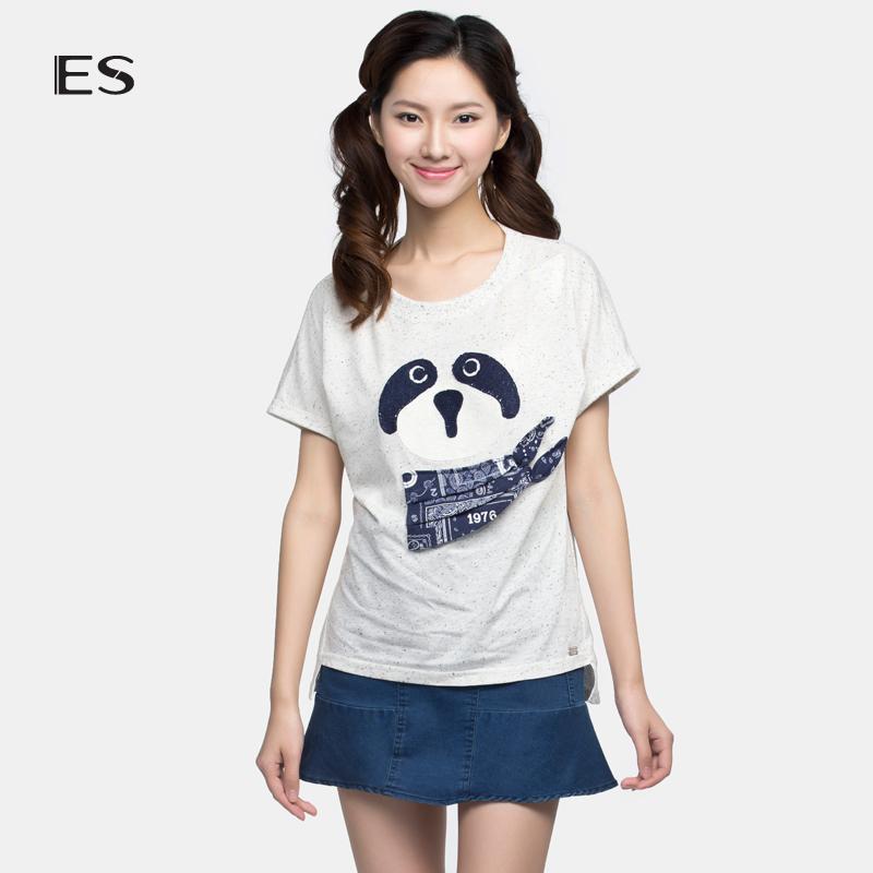 艾格女装 艾格 ES  夏季时尚熊猫头像翻遍短袖棉质T恤女16032822561_推荐淘宝好看的艾格