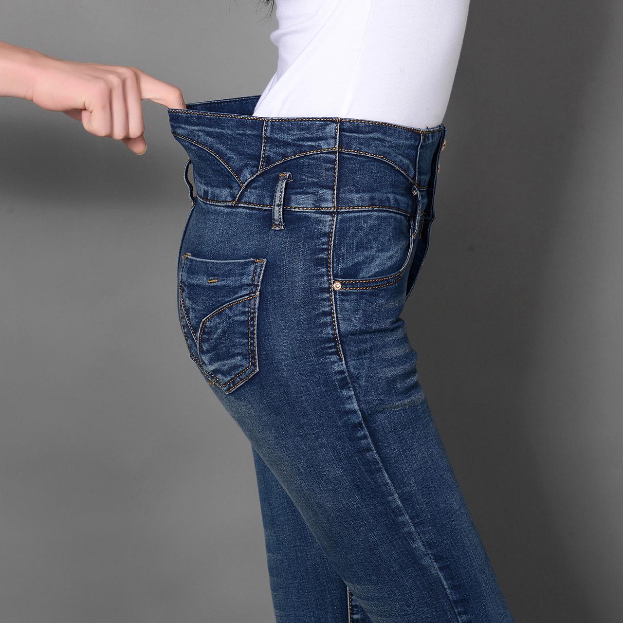 牛仔裤 高腰加绒深色牛仔裤女小脚裤长裤 弹力紧身女裤子 韩版显瘦铅笔裤_推荐淘宝好看的女牛仔裤