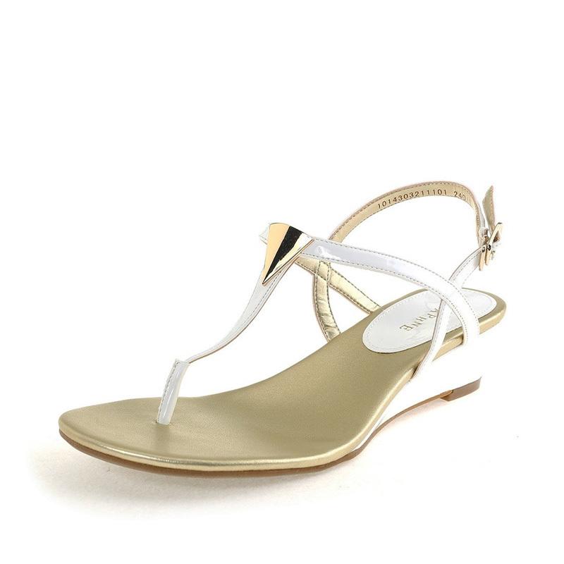 达芙妮坡跟鞋 Daphne达芙妮 甜美休闲细带亮金属T型夹趾坡跟凉鞋1014303211_推荐淘宝好看的达芙妮坡跟鞋
