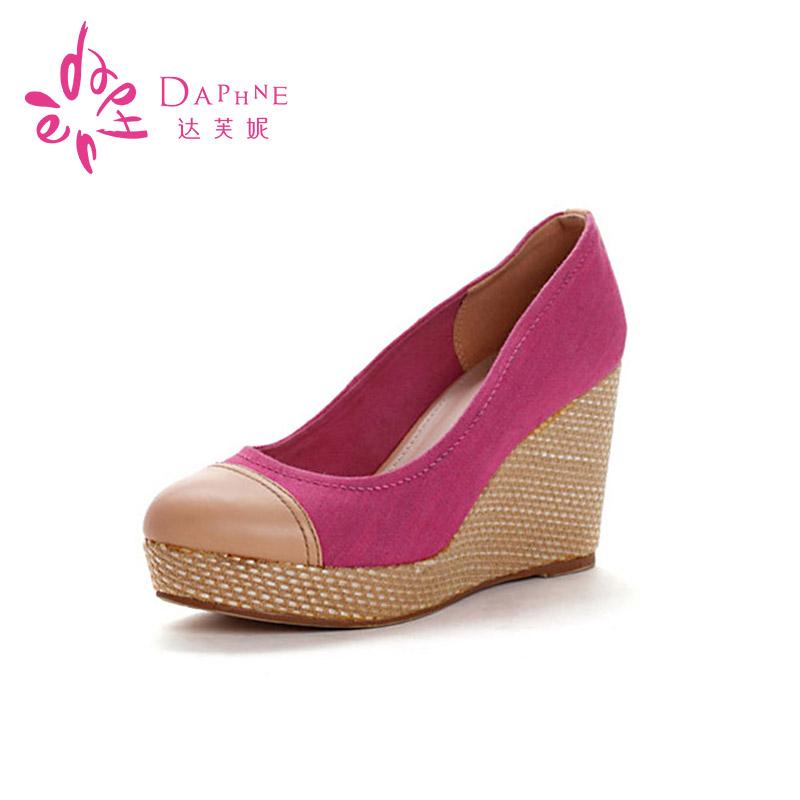 达芙妮单鞋 Daphne达芙妮正品单鞋 春季拼色厚底坡跟女鞋松糕鞋1013101011_推荐淘宝好看的女达芙妮单鞋