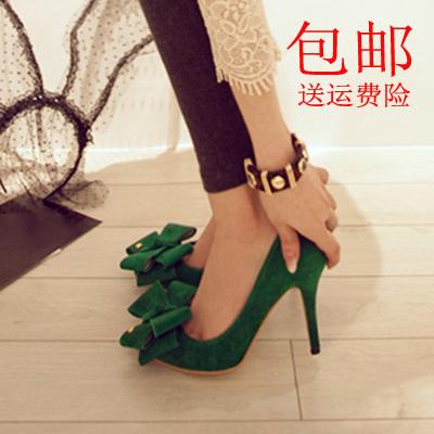 绿色单鞋 16春季韩国公主小码蝴蝶结尖头高跟女单鞋绒面低中细跟红绿色婚鞋_推荐淘宝好看的绿色单鞋