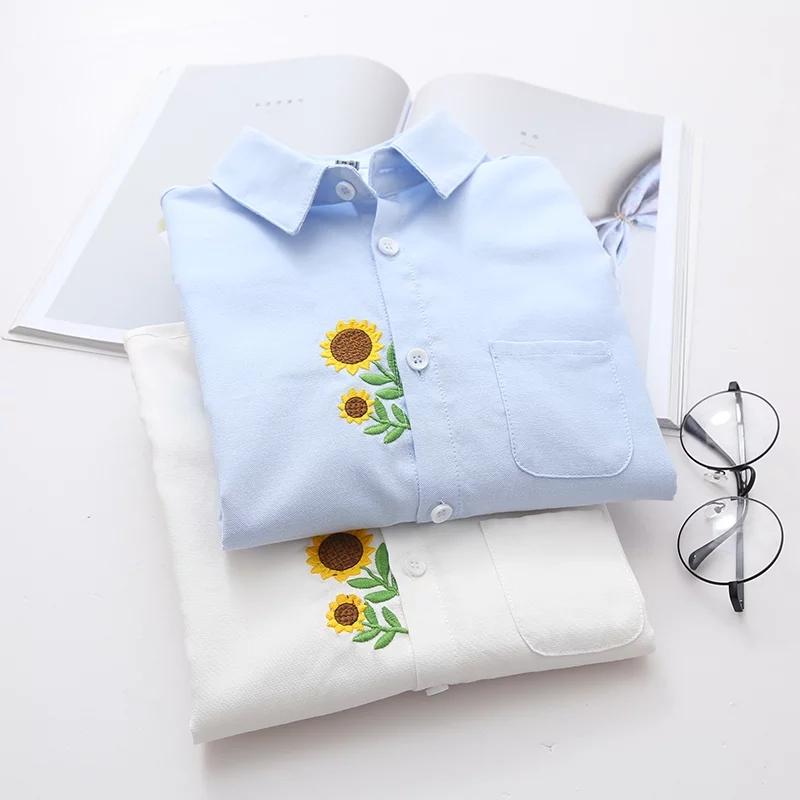 女装长袖衬衫 春季新款女森系文艺小清新学院风打底衬衣纯棉宽松长袖刺绣白衬衫_推荐淘宝好看的女长袖衬衫