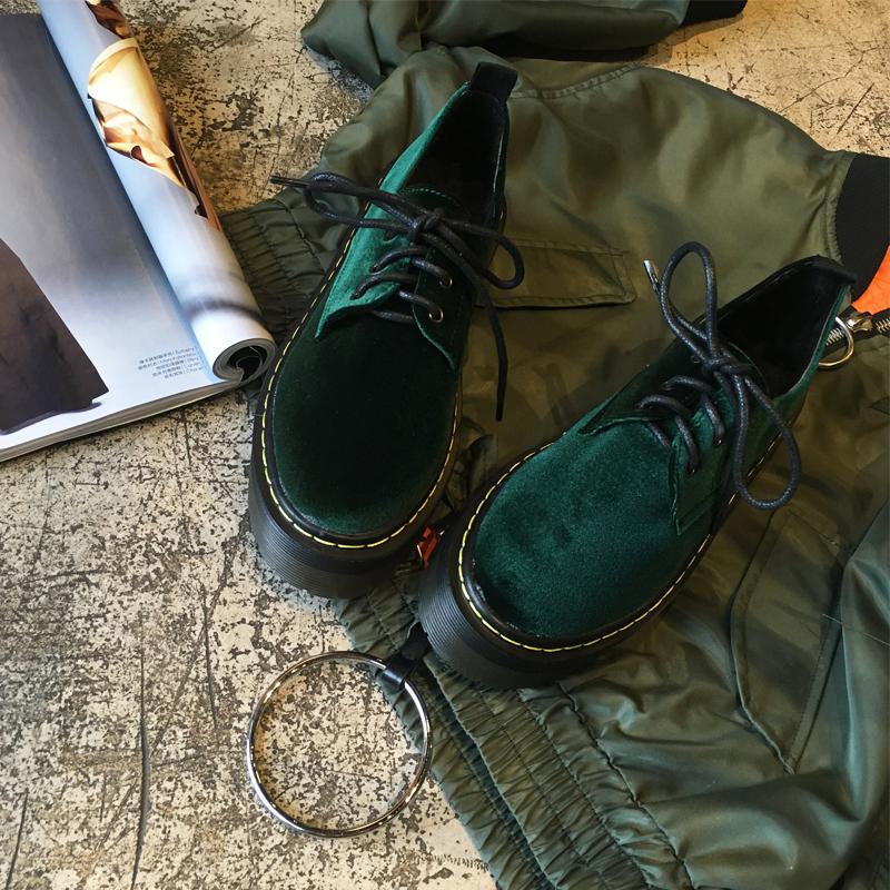 绿色厚底鞋 2016新款绿色圆头韩版复古金丝绒休闲系带厚底鞋百搭加绒单鞋中跟_推荐淘宝好看的绿色厚底鞋
