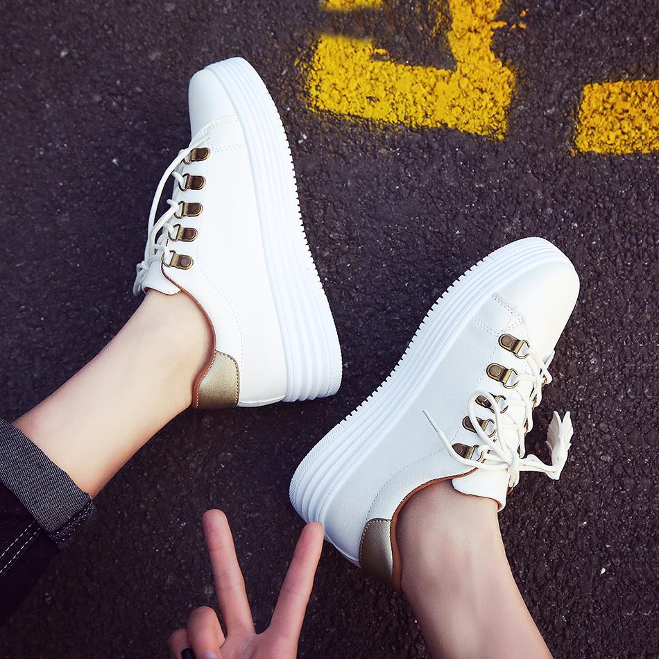 帆布鞋 百搭2017春季新款帆布鞋女学生休闲板鞋韩版系带小白鞋厚底运动鞋_推荐淘宝好看的女帆布鞋