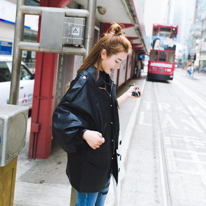 长款机车皮衣 17韩国春装新款个性女士风衣韩版宽松蝙蝠袖机车皮衣女中长款外套_推荐淘宝好看的女长机车皮衣