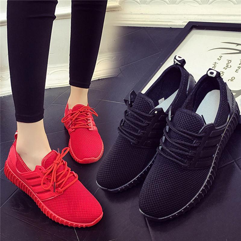 红色运动鞋 情侣秋夏透气针织休闲网面运动鞋女跑步鞋韩版小红色椰子学生单鞋_推荐淘宝好看的红色运动鞋