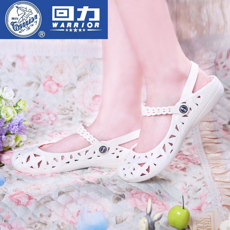 白色凉鞋 回力女凉鞋夏季平底工作鞋女护士鞋白色坡跟塑料沙滩鞋防滑洞洞鞋_推荐淘宝好看的白色凉鞋