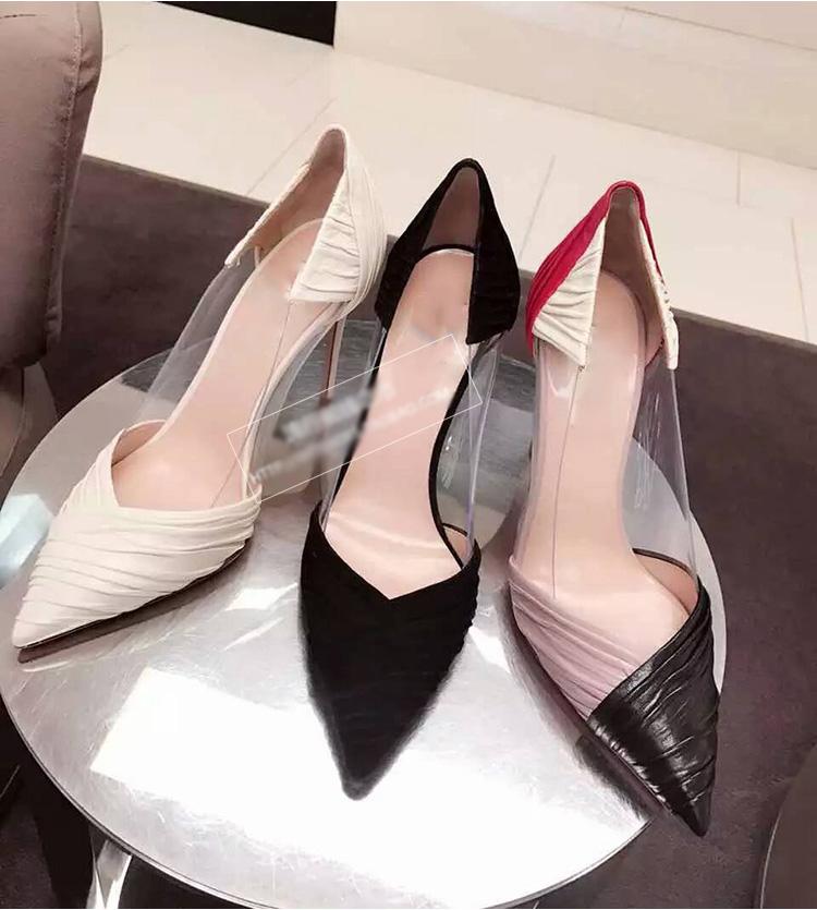白色高跟单鞋 2017春季新款褶皱拼色浅口透明白色尖头高跟鞋细跟单鞋女鞋婚鞋子_推荐淘宝好看的女白色高跟单鞋