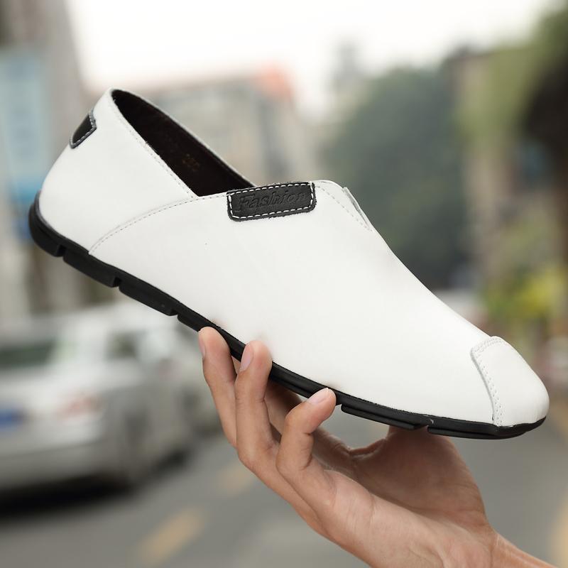 白色豆豆鞋 秋季豆豆鞋男真皮白色软底透气韩版百搭男鞋青年懒人鞋潮休闲皮鞋_推荐淘宝好看的白色豆豆鞋