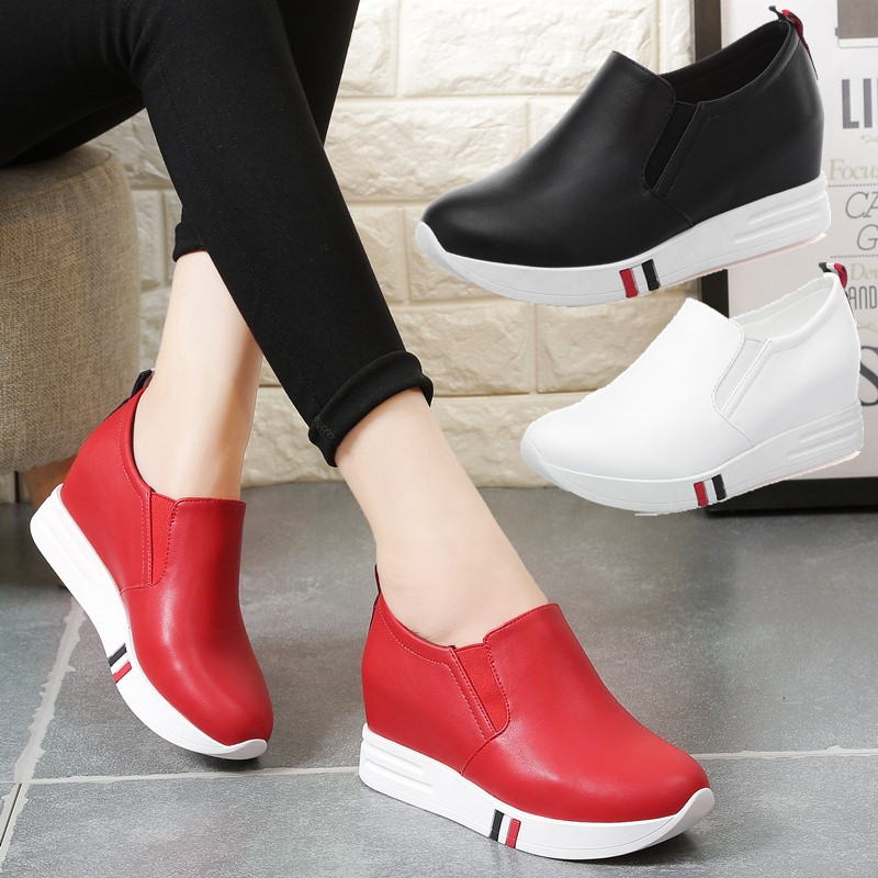 红色坡跟鞋 秋款鞋子女2017新款红色内增高女鞋百搭单鞋坡跟懒人鞋运动休闲鞋_推荐淘宝好看的红色坡跟鞋
