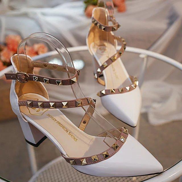 最新款高跟凉鞋 2016夏季新款铆钉尖头高跟鞋中跟单鞋女浅口镂空凉鞋粗跟鞋女鞋子_推荐淘宝好看的女新款高跟凉鞋