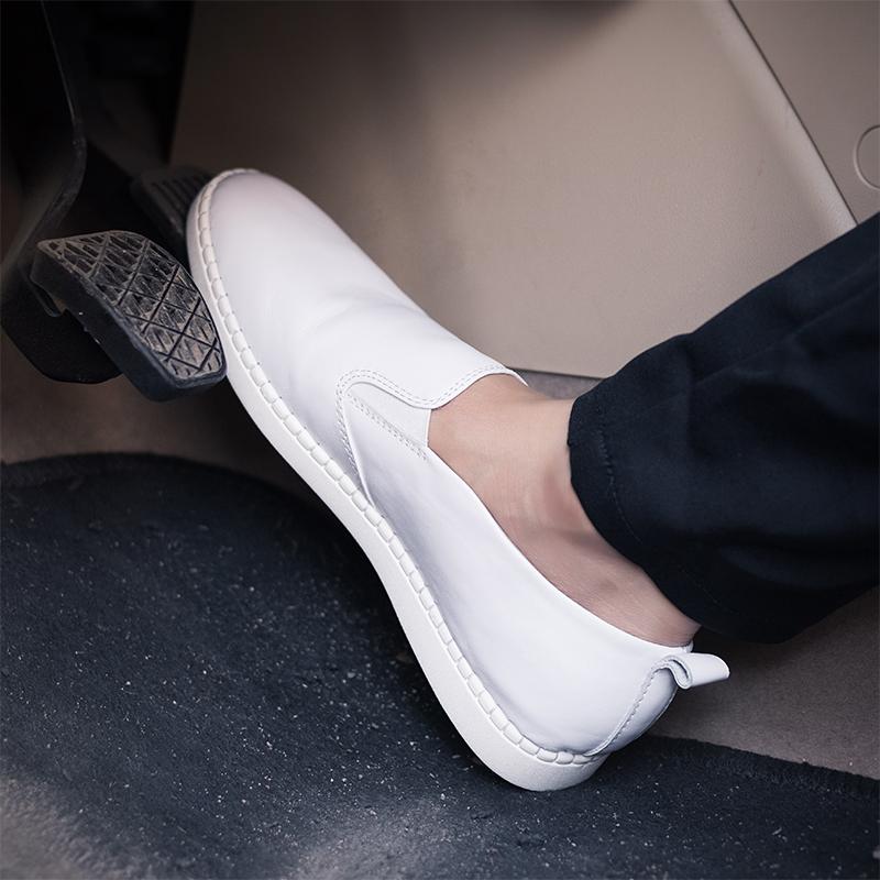 白色豆豆鞋 潮男春秋男士软皮白色休闲鞋夏季真皮豆豆鞋头层牛皮懒人驾车鞋子_推荐淘宝好看的白色豆豆鞋