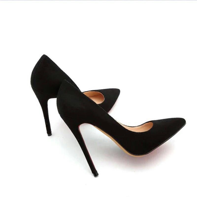 欧美款尖头鞋 2017欧美超高跟绒面黑色职业鞋12cm细跟磨砂真皮尖头浅口单鞋女_推荐淘宝好看的欧美尖头鞋