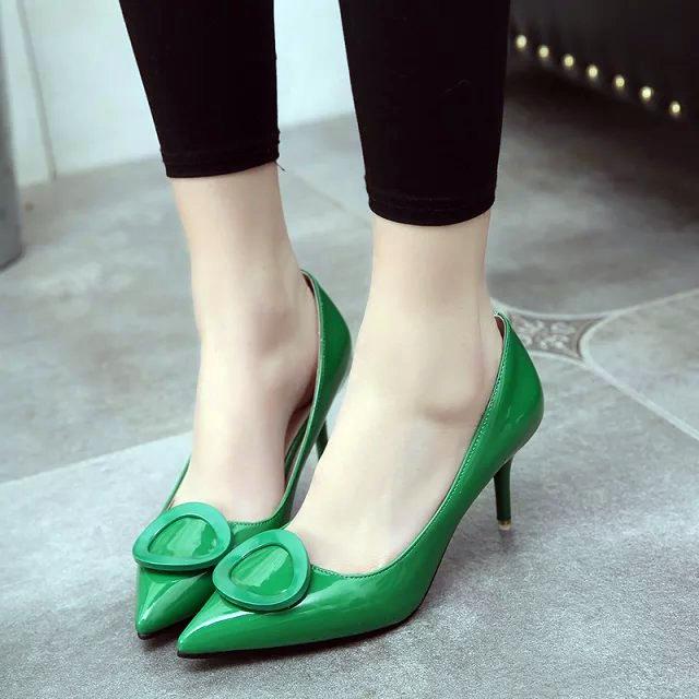 红色高跟鞋 2016春季新款女鞋浅口鞋性感红色婚鞋尖头高跟漆皮单鞋舒适工作鞋_推荐淘宝好看的红色高跟鞋