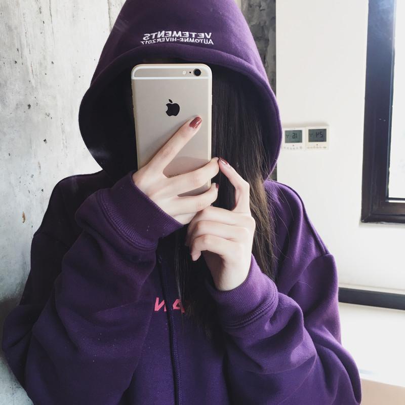 紫色卫衣 @ZY喜哥 2016新款中长款连帽套头卫衣女加绒秋冬加厚宽松休闲上衣_推荐淘宝好看的紫色卫衣