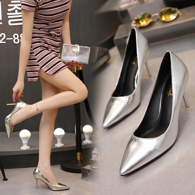 新款高跟鞋 高跟鞋女银色32金色细跟尖头舒适小码单鞋31性感2017新款33职业秋_推荐淘宝好看的女新款高跟鞋