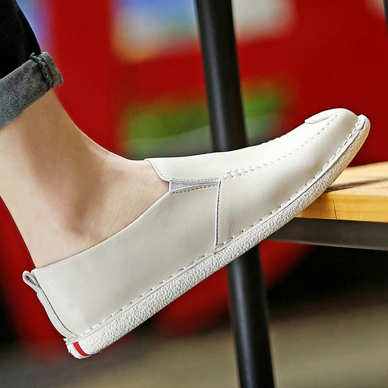 白色豆豆鞋 夏天皮鞋男休闲鞋韩版潮鞋一脚蹬懒人透气夏季男鞋子白色豆豆单鞋_推荐淘宝好看的白色豆豆鞋