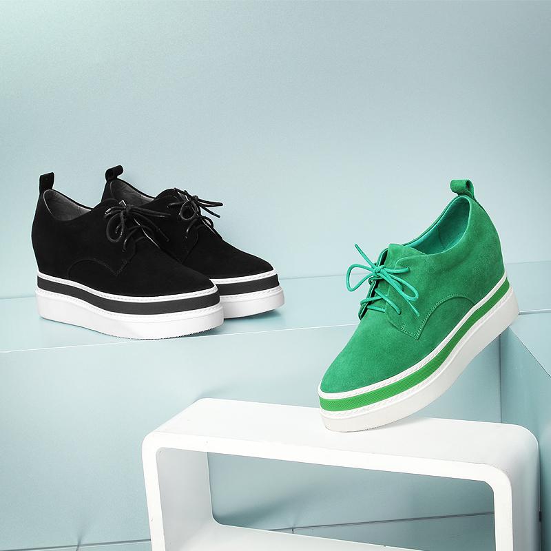 绿色厚底鞋 柯玛妮克欧洲站坡跟休闲女鞋真皮松糕厚底绿色内增高单鞋潮K70049_推荐淘宝好看的绿色厚底鞋