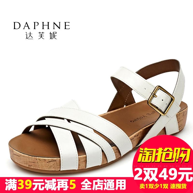 达芙妮罗马鞋 Daphne达芙妮夏季女鞋 罗马风平底露趾一字扣凉鞋1515303019_推荐淘宝好看的达芙妮罗马鞋
