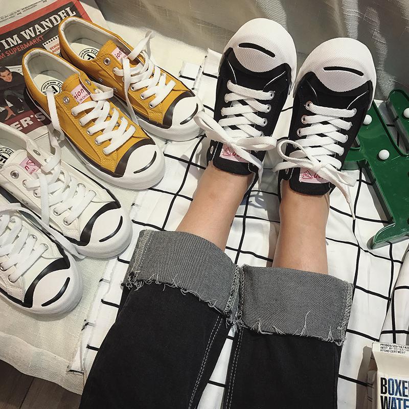 开口笑帆布鞋 韩国ulzzang简约港风经典开口笑帆布鞋女学生韩版布鞋男女情侣鞋_推荐淘宝好看的女开口笑帆布鞋
