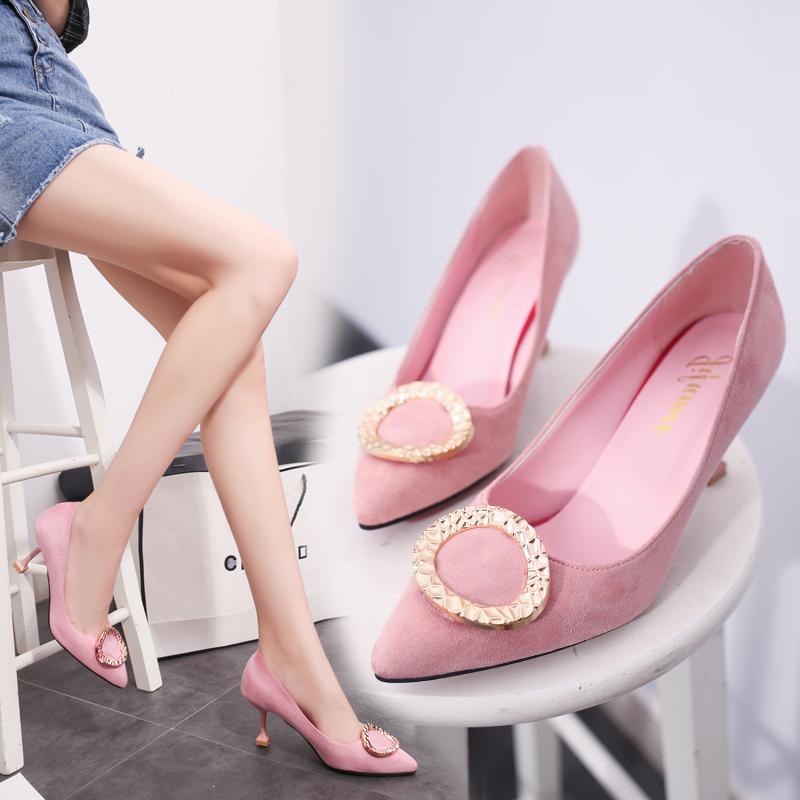 粉红色尖头鞋 2017年夏季17秋季新款单鞋女鞋子尖头细跟粉红色黑色绒面PU套脚_推荐淘宝好看的粉红色尖头鞋