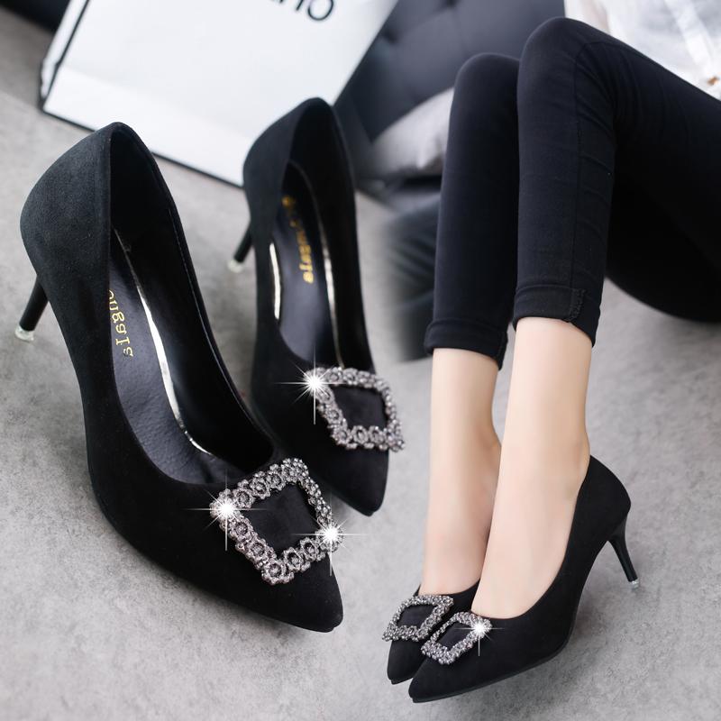 红色高跟鞋 欧美新款尖头细跟女鞋中跟单鞋水钻方扣高跟鞋红色婚鞋黑色工作鞋_推荐淘宝好看的红色高跟鞋
