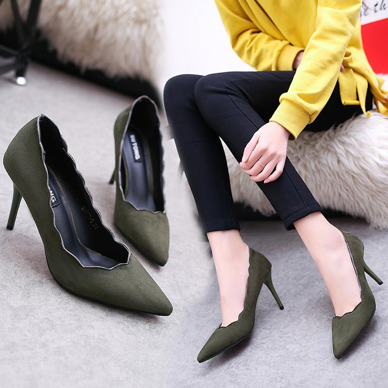 细跟性感高跟鞋 尖头高跟鞋细跟8厘米花边浅口绒面性感黑色工作鞋ol墨绿色单鞋女_推荐淘宝好看的细跟性感高跟鞋