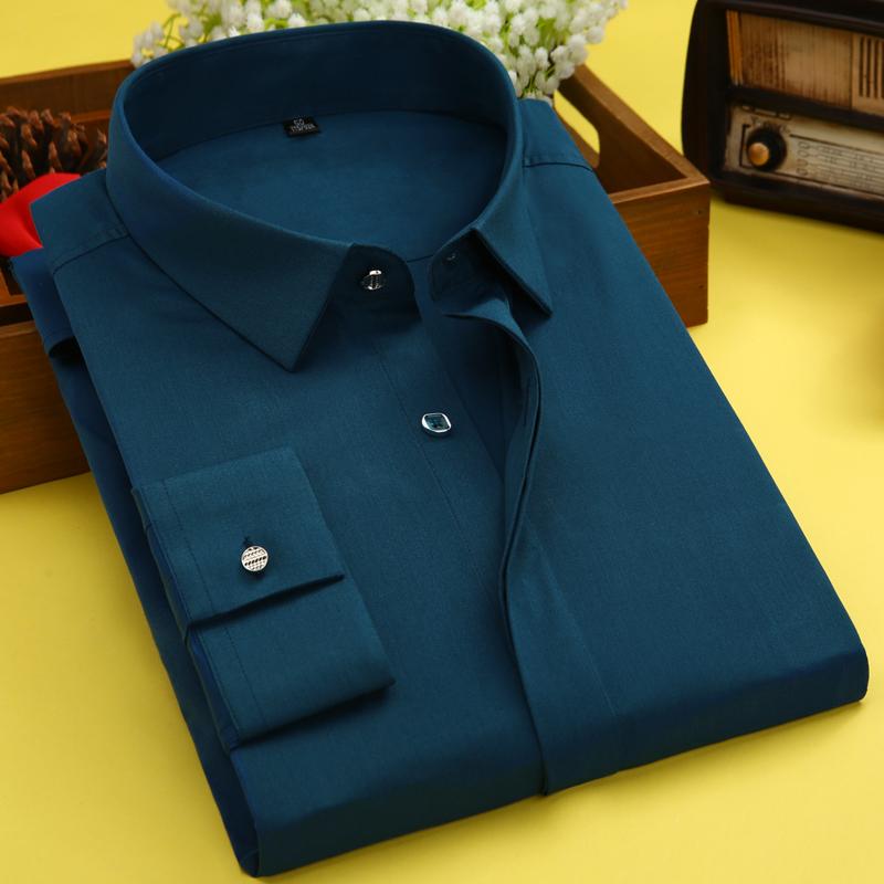 白色衬衫 新款竹纤维商务男士长袖衬衫纯色休闲衬衣韩版修身职业正装衬衫男_推荐淘宝好看的白色衬衫