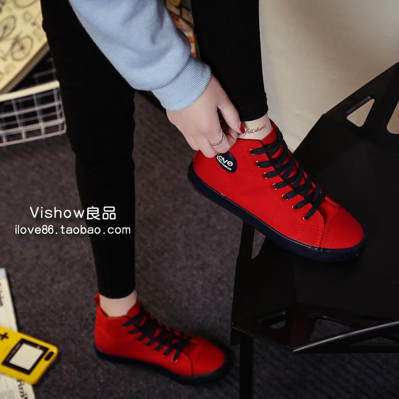 红色帆布鞋 帆布鞋女高帮鞋春秋韩版平底系带学生红色球鞋休闲板鞋白色布鞋子_推荐淘宝好看的红色帆布鞋