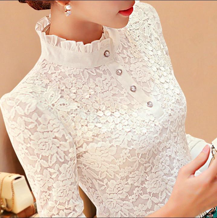 女式长袖雪纺衫 新款雪纺高领加绒加厚蕾丝打底衫长袖上衣女冬季白色大码修身保暖_推荐淘宝好看的长袖雪纺衫