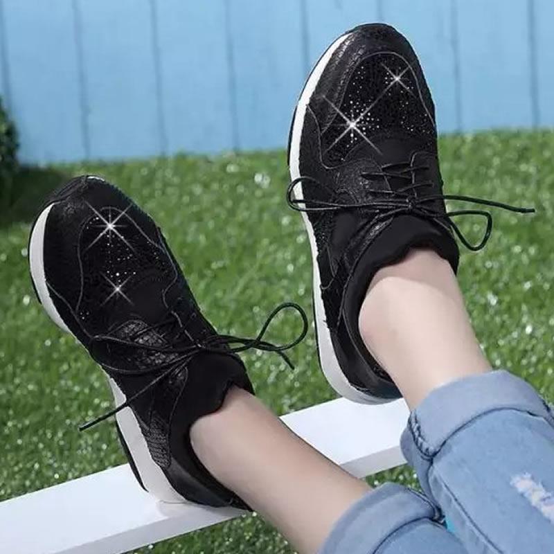 她他单鞋 2016秋季新款酷吧 他她真皮女鞋水钻摇摇底运动鞋平底系带女单鞋_推荐淘宝好看的她他单鞋