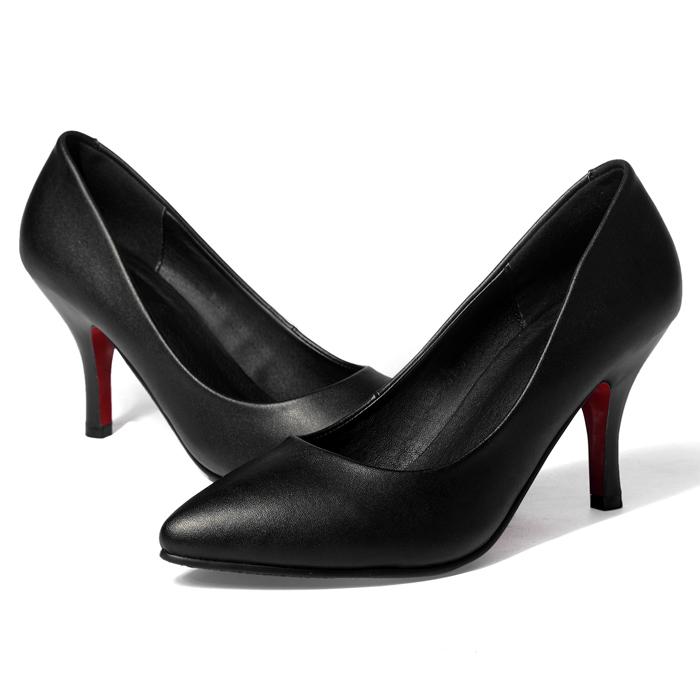 细高跟单鞋 工作鞋女黑色高跟鞋女鞋软皮夏新款细跟职业尖头单鞋中跟女士皮鞋_推荐淘宝好看的女细高跟单鞋